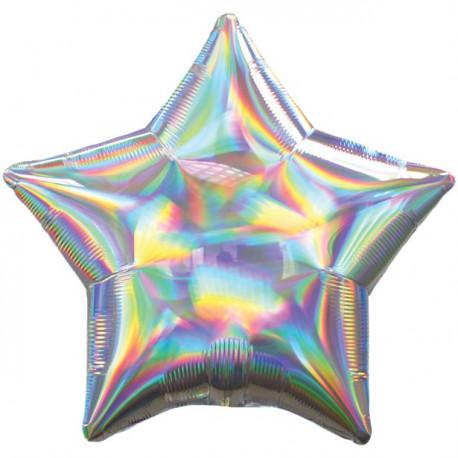 Sølv folie stjerne ballon med iriserende effekt