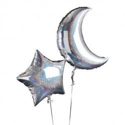 Sølv stjerne og måne folie balloner
