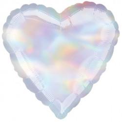 Sølv folie hjerte ballon med iriserende effekt