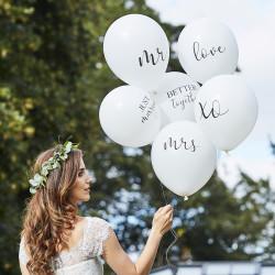 Hvide Balloner med klassisk bryllupstekst fra GingerRay