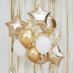 Guld og hvid ballon buket fra GingerRay