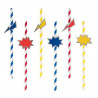 Stribede superhero sugerør i gul, blå og rød fra franske My Little Day