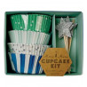 Cupcakesæt i lyseblå, sølv og grønne farver fra Meri Meri