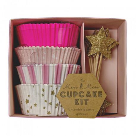 Cupcakesæt i lyserøde farver fra Meri Meri