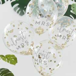 """Almost Mrs"" guld konfetti polterabend balloner fra GingerRay"