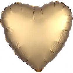Guld Satin Hjerte Folie Ballon til Helium