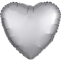 Sølv Hjerte Satin Folie Ballon