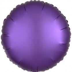 Rund Lilla Satin Folie Ballon til Helium