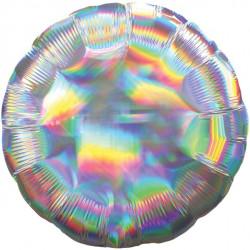 Rund Sølv folie ballon med iriserende effekt