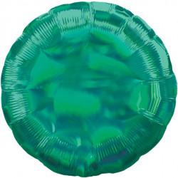 Rund Grøn folie ballon med iriserende effekt