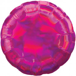 Rund Pink folie ballon med iriserende effekt