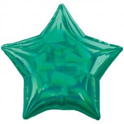 Grøn Stjerne folie ballon med iriserende effekt