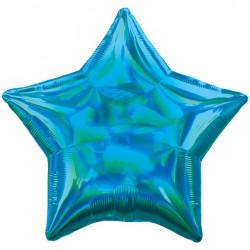 Blå Stjerne folie ballon med iriserende effekt