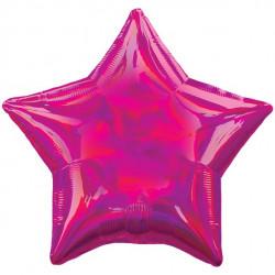 Pink Stjerne folie ballon med iriserende effekt