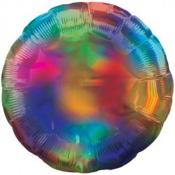 Rund Regnbuefarvet folie ballon med iriserende effekt