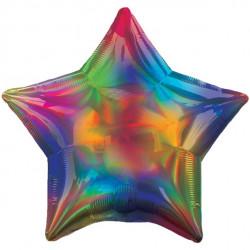 Regnbuefarvet Stjerne folie ballon med iriserende effekt