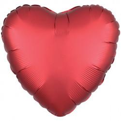 Rød Satin Hjerte Folie Ballon