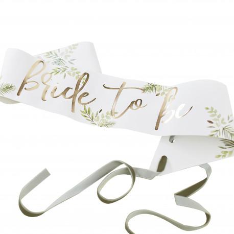 """Botanisk Skråbånd med guld """"Bride To Be"""" skrift fra GingerRay"""