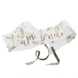 "Botanisk Skråbånd med guld Team Bride"" skrift fra GingerRay"