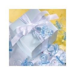 Blå baby sutter til barnedåb og babyshower