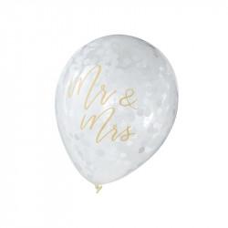 """Hvid konfetti ballon med guld folie """"Mr&Mrs"""" balloner fra GingerRay"""