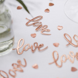 "Rose gold ""Love"" konfetti fra Ginger Ray"