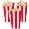 Rød og hvid stribede popcorn bæger