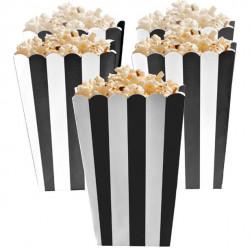 Sort og hvid stribede popcorn bæger