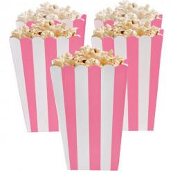 Lyserød og hvid stribede popcorn bæger