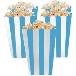 Lyseblå og hvid stribede popcorn bæger