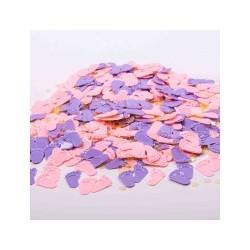 Baby fødder konfetti i lyserød og lilla