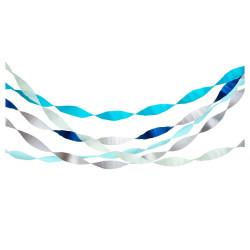 Rulle med 5 crepe papir i sølv, blå og grøn fra Meri Meri