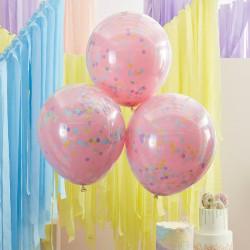 Lyserøde balloner med regnbue konfetti fra GingerRay