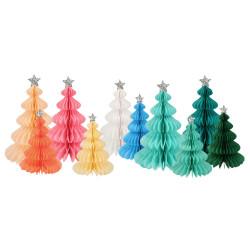 10 Farverige honeycomb juletræer med julestjerner i sølv fra Meri Meri