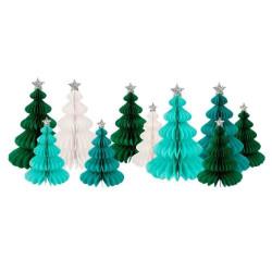 10 Grønne honeycomb juletræer med julestjerner i sølv fra Meri Meri