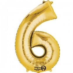 Guld 6 folie tal ballon