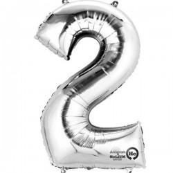 Sølv 2 folie tal ballon
