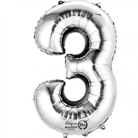 Sølv 3 bogstavsballon