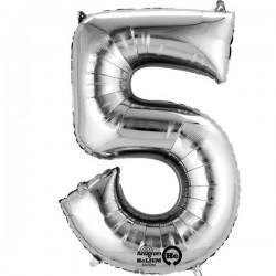 Sølv 5 folie tal ballon