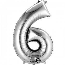 Sølv 6 folie tal ballon