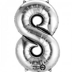Sølv 8 folie tal ballon