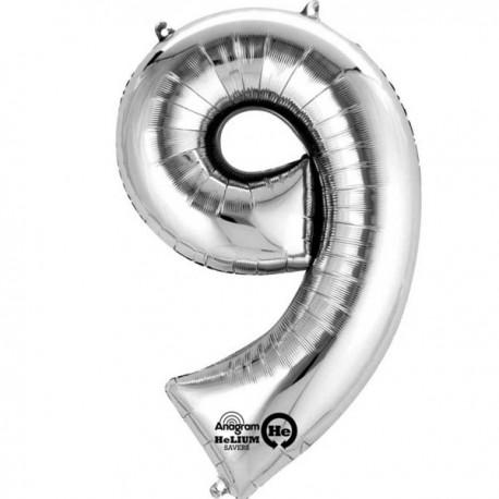 Sølv 9 bogstavsballon