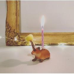 Hamster lysholder som caketopper til fødselsdagskage