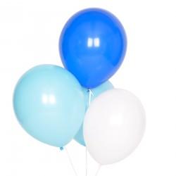 10 Blandede lyseblå balloner